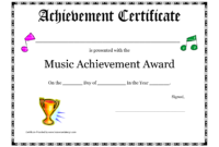 Free Printable Achievement Award Certificate Template within Choir Certificate Template