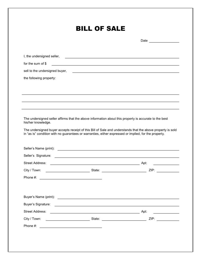 Free Printable Blank Bill Of Sale Form Template - As Is Bill For Blank Legal Document Template