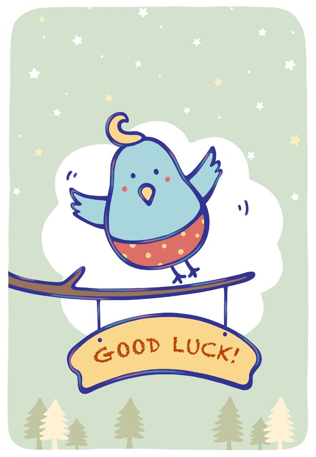 Free Printable Bluebird Of Happiness Greeting Card Intended For Good Luck Card Templates