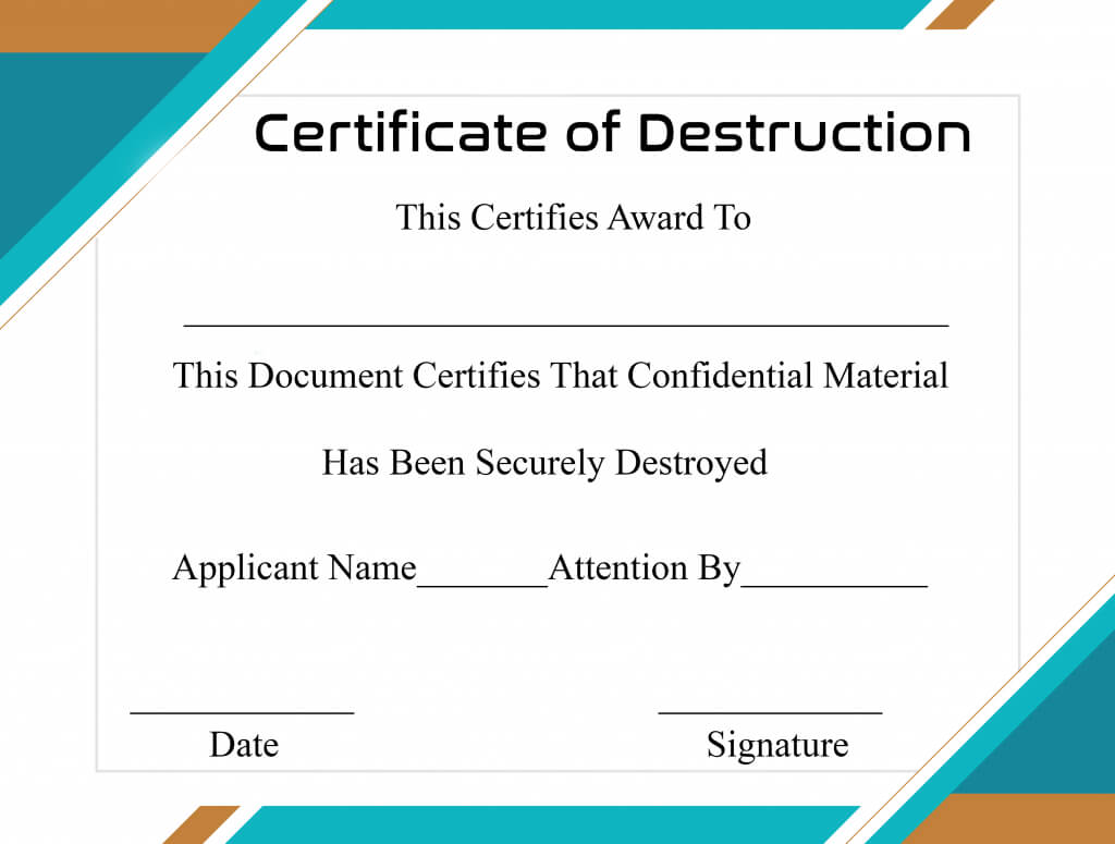 Free Printable Certificate Of Destruction Sample In Destruction Certificate Template