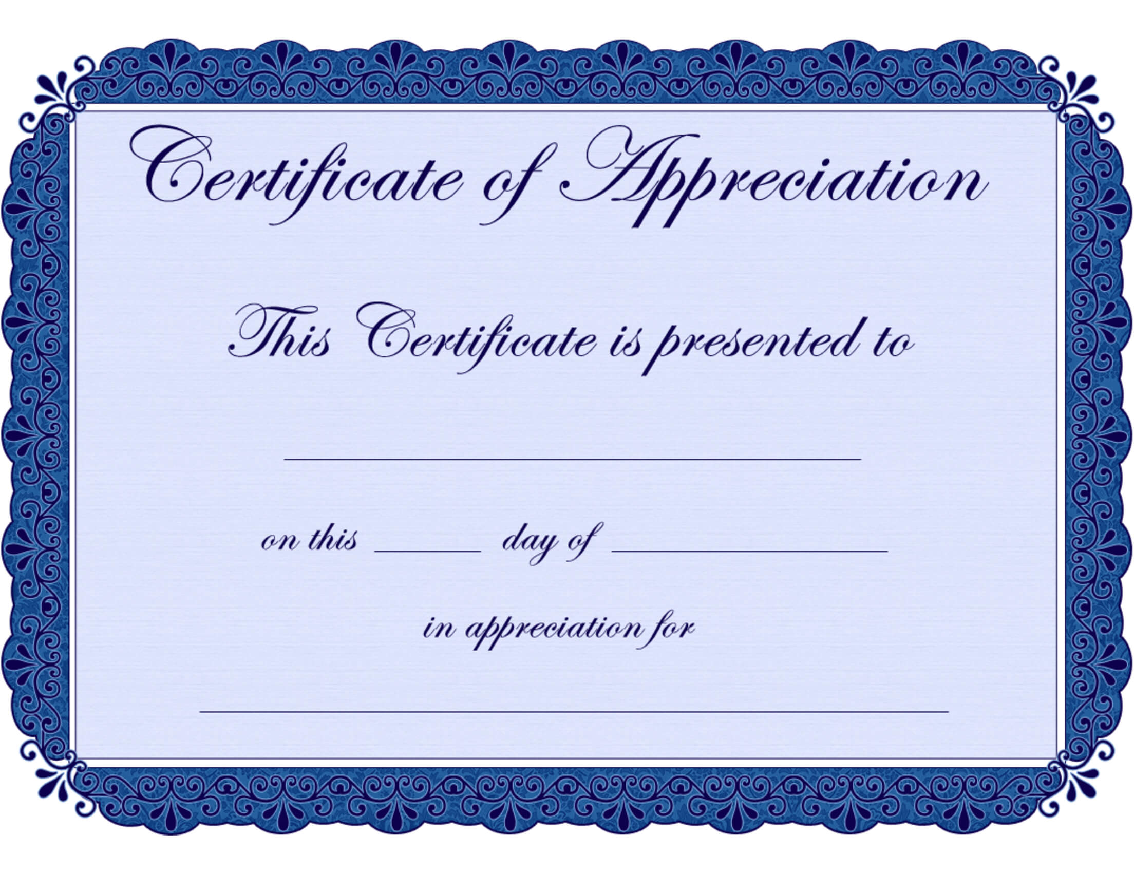 Free Printable Certificates Certificate Of Appreciation In Printable Certificate Of Recognition Templates Free