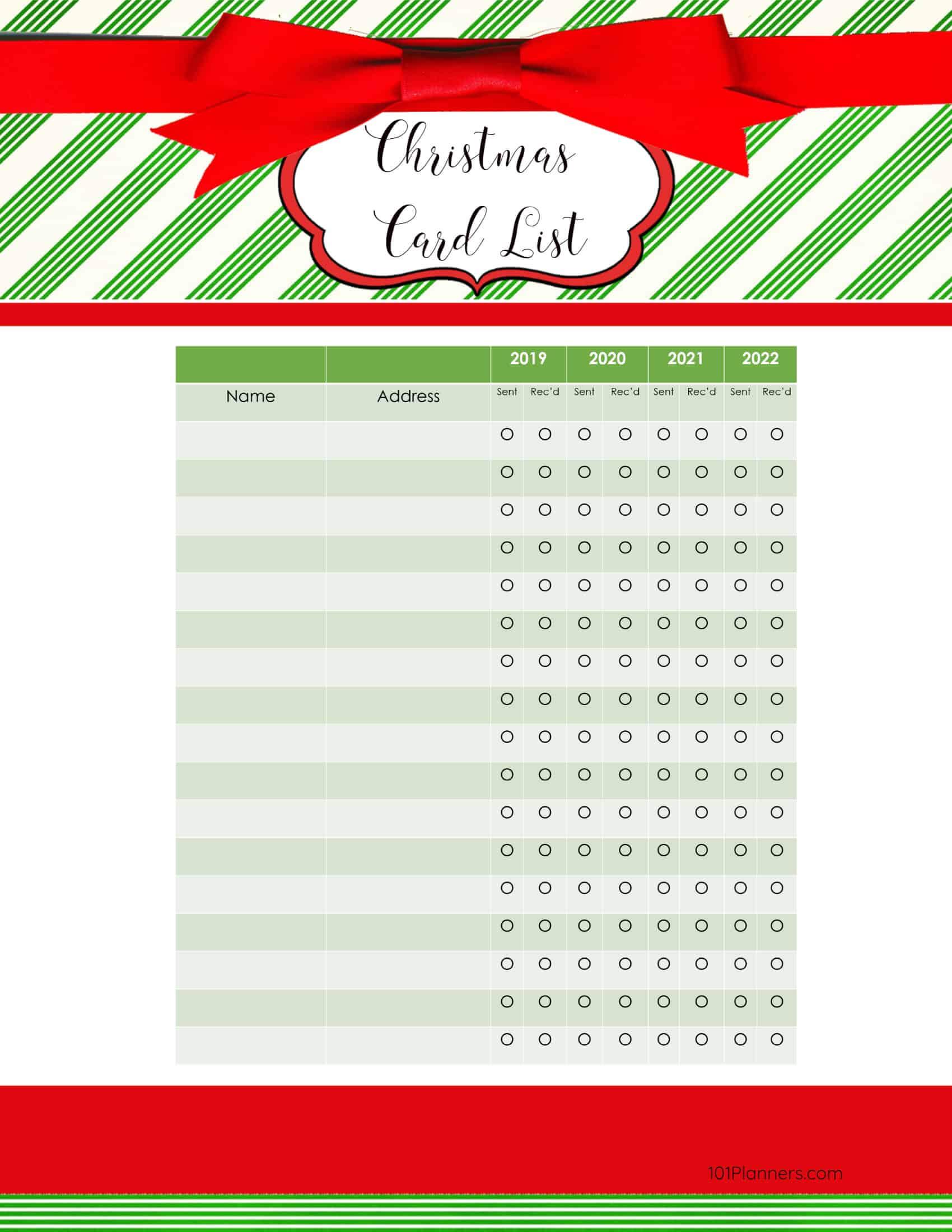 Free Printable Christmas Gift List Template Regarding Christmas Card List Template