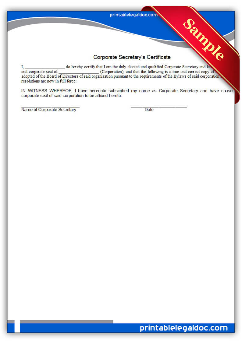 Free Printable Corporate Secretary's Certificate Form (Generic) With Corporate Secretary Certificate Template