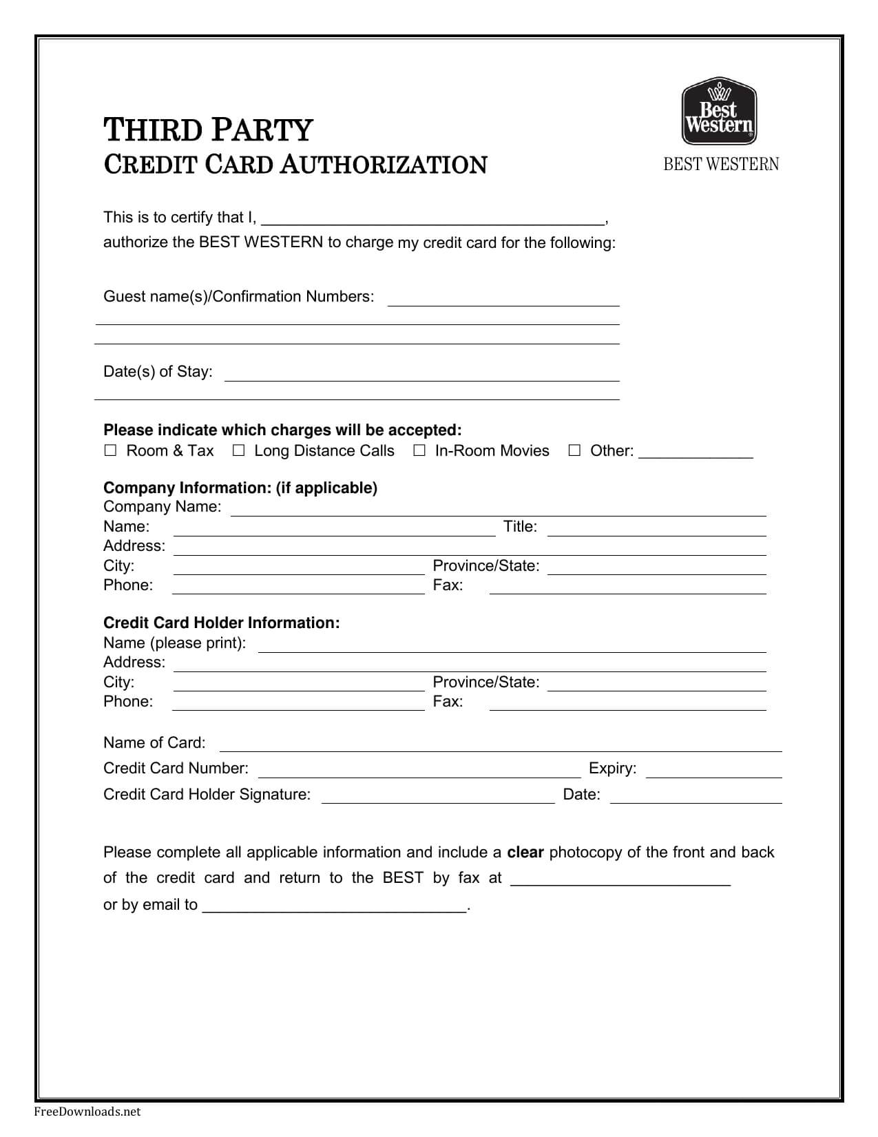 Free Printable Credit Card Authorization Form – Forza Pertaining To Credit Card Authorization Form Template Word