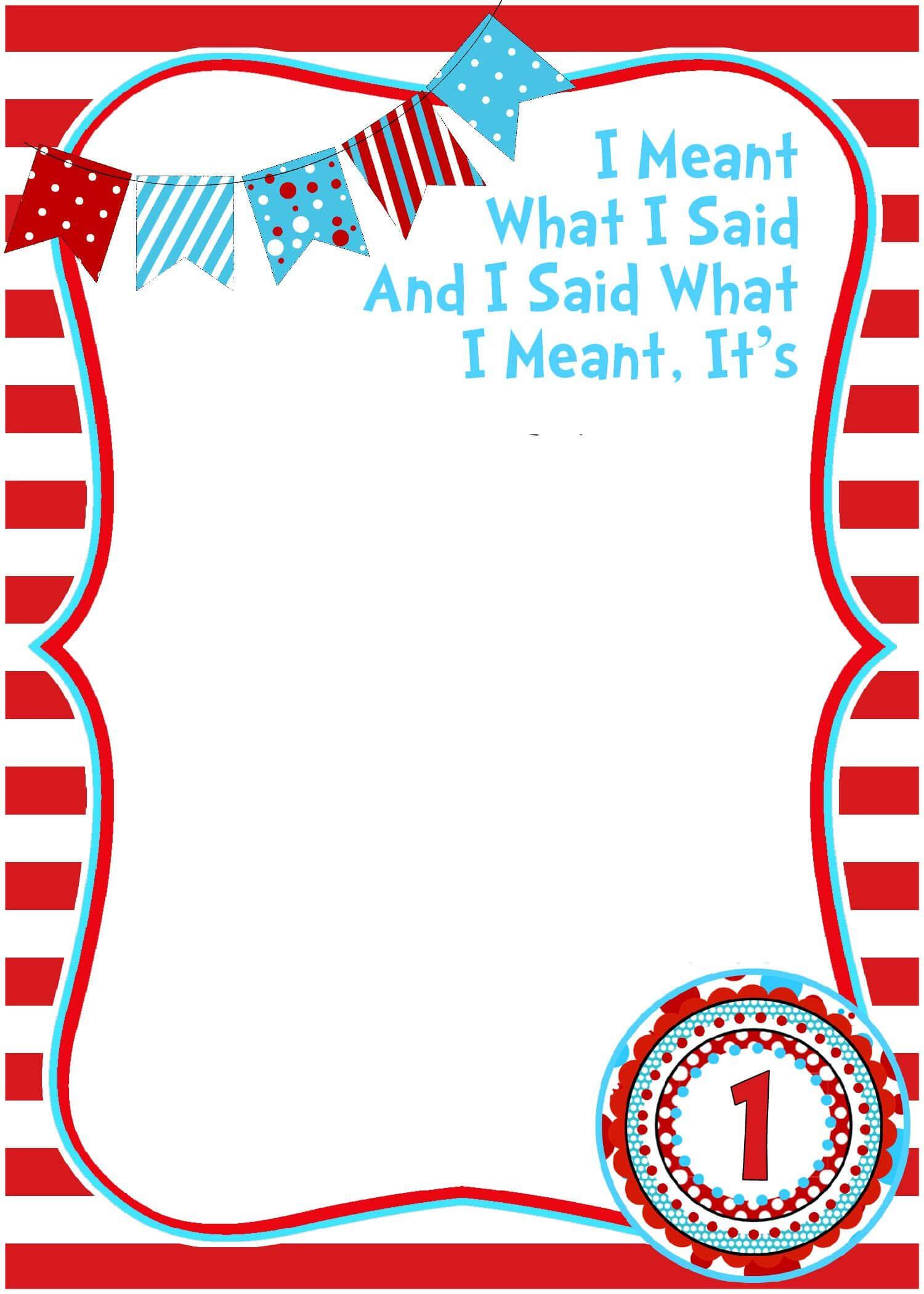 Free Printable Dr Seuss Birthday Invitations | Printable Inside Dr Seuss Birthday Card Template