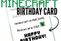 Free Printable Minecraft Birthday Card | Minecraft Birthday inside Minecraft Birthday Card Template