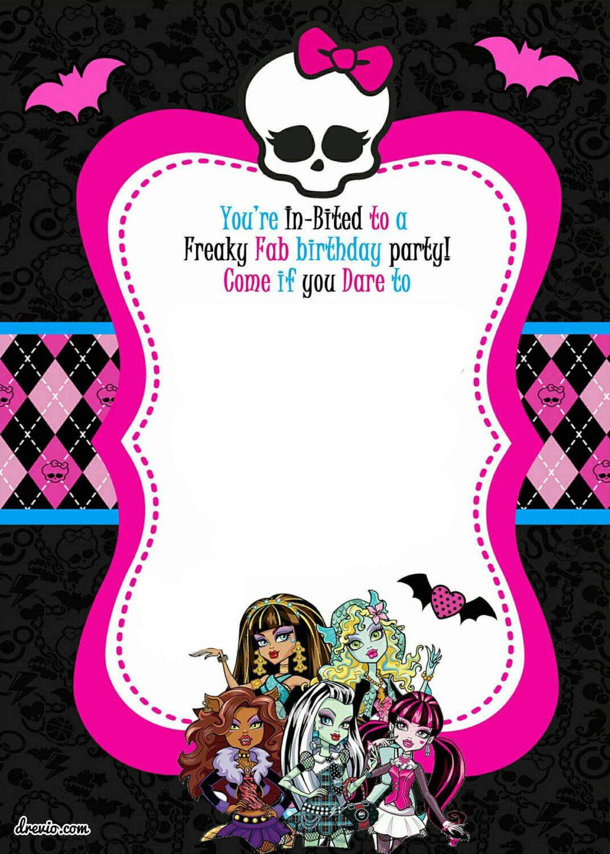 Free Printable Monster High Birthday Invitations | Monster Throughout Monster High Birthday Card Template