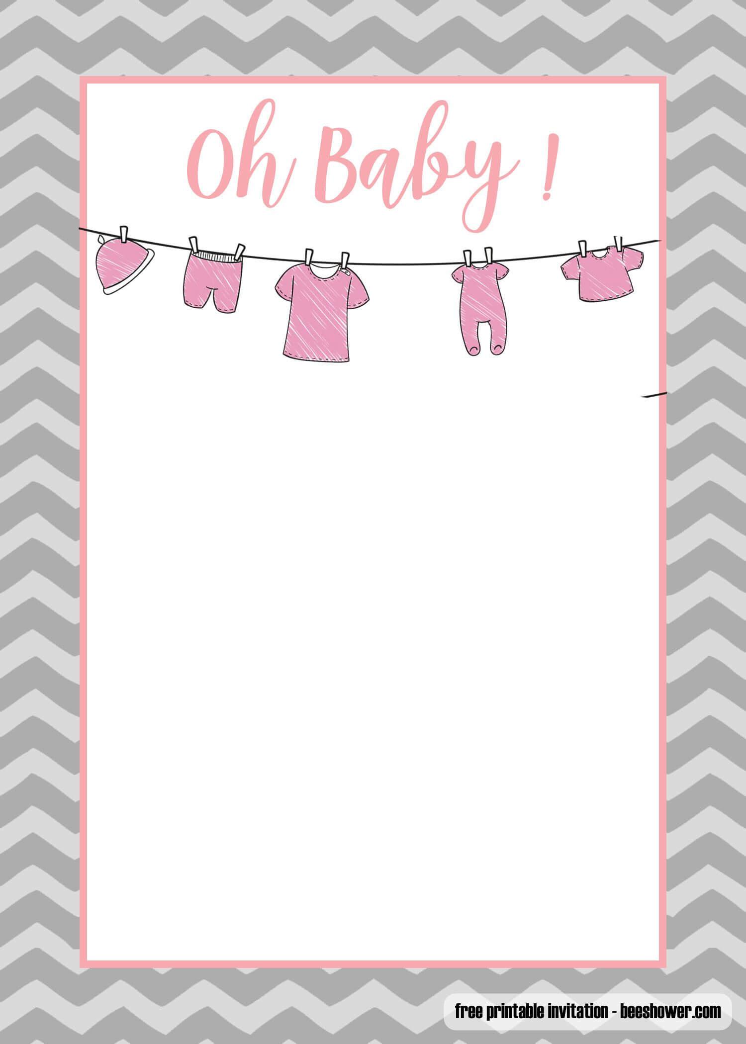Free Printable Onesie Baby Shower Invitations Templates Within Free Baby Shower Invitation Templates Microsoft Word