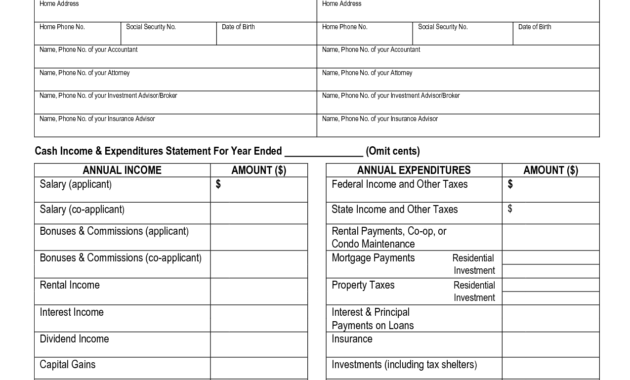 Free Printable Personal Financial Statement | Blank Personal inside Blank Personal Financial Statement Template