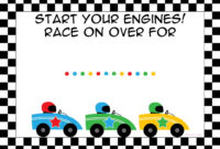 Free Printable Race Car Birthday Party Invitations – Updated in Blank Race Car Templates