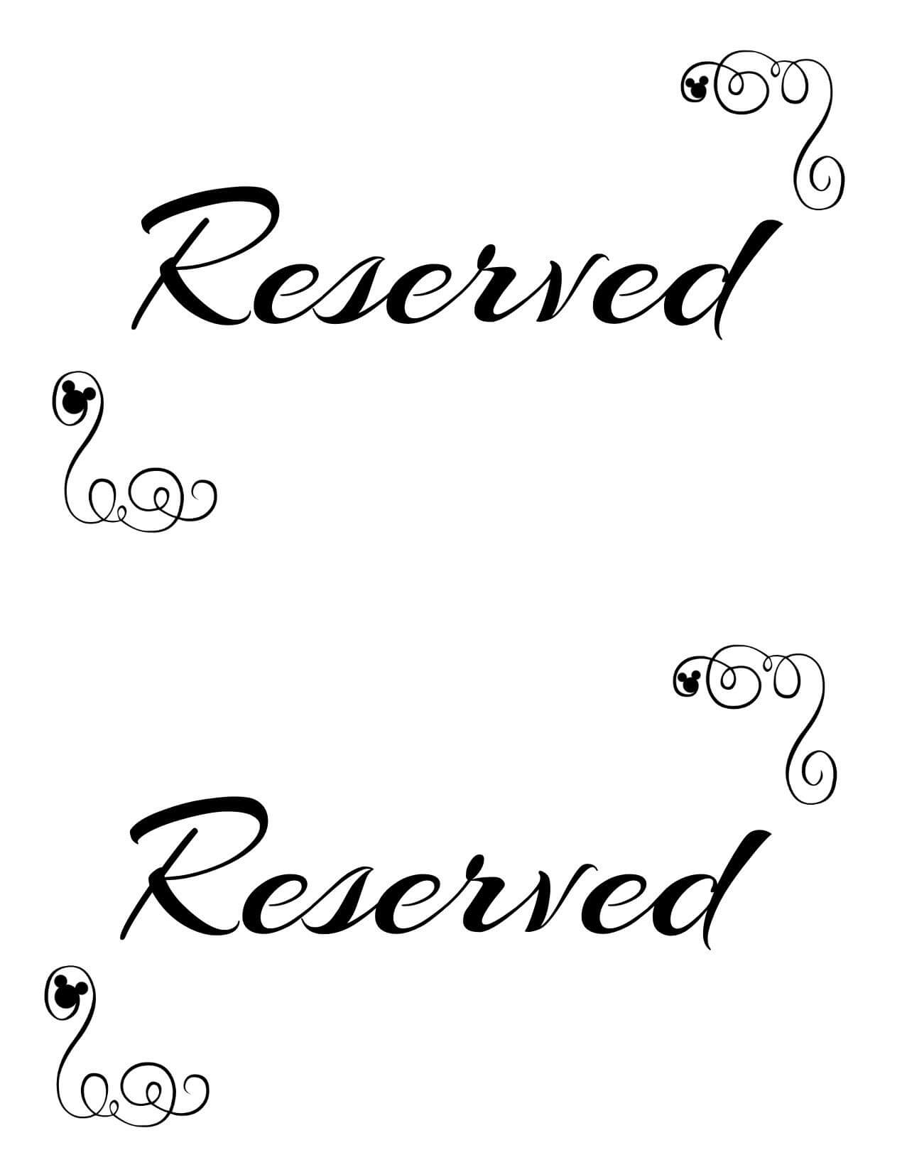Free Printable Reserved Seating Signs For Your Wedding Within Reserved Cards For Tables Templates