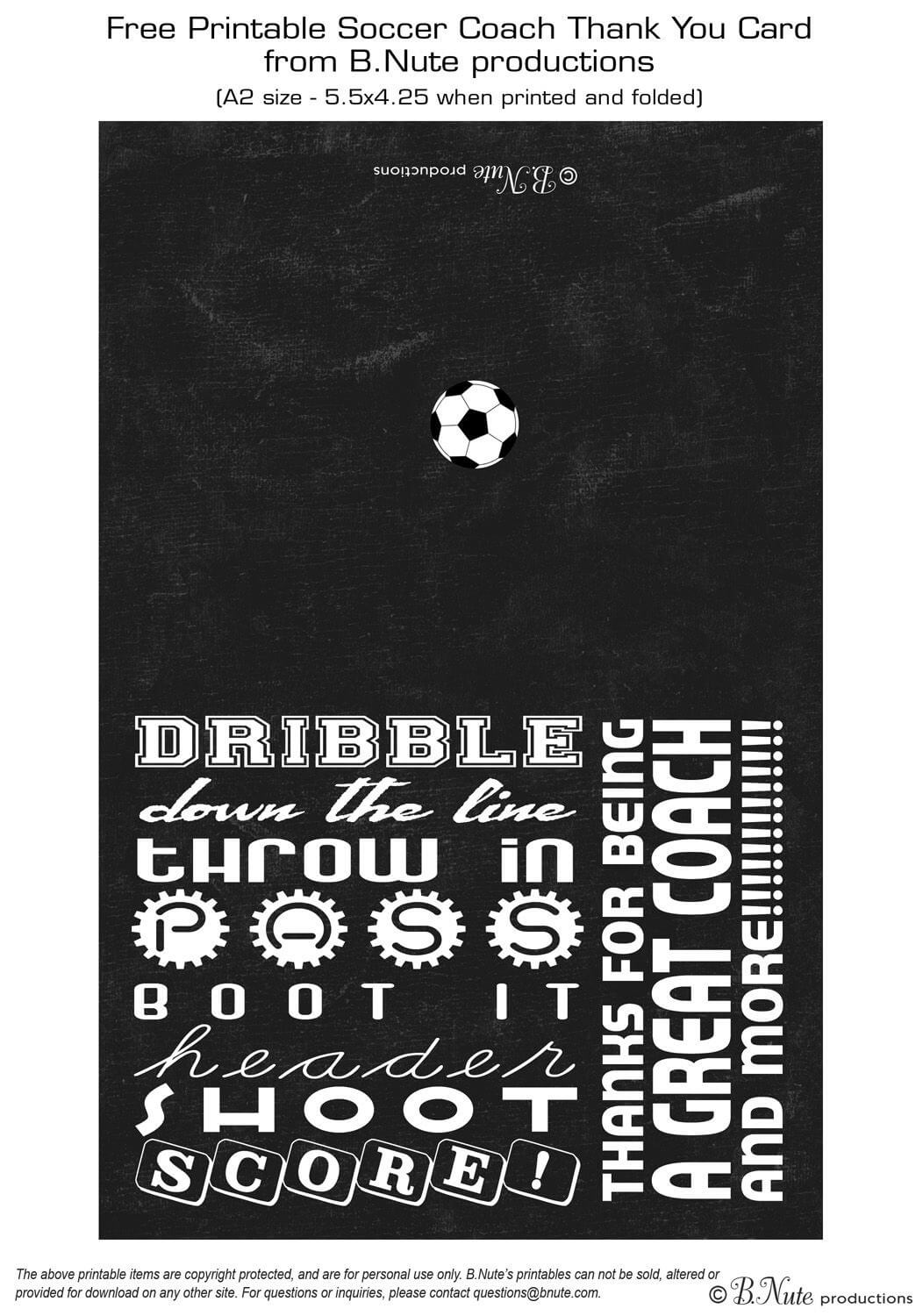 Free Printable Soccer Coach Thank You Card From B.nute Throughout Soccer Thank You Card Template