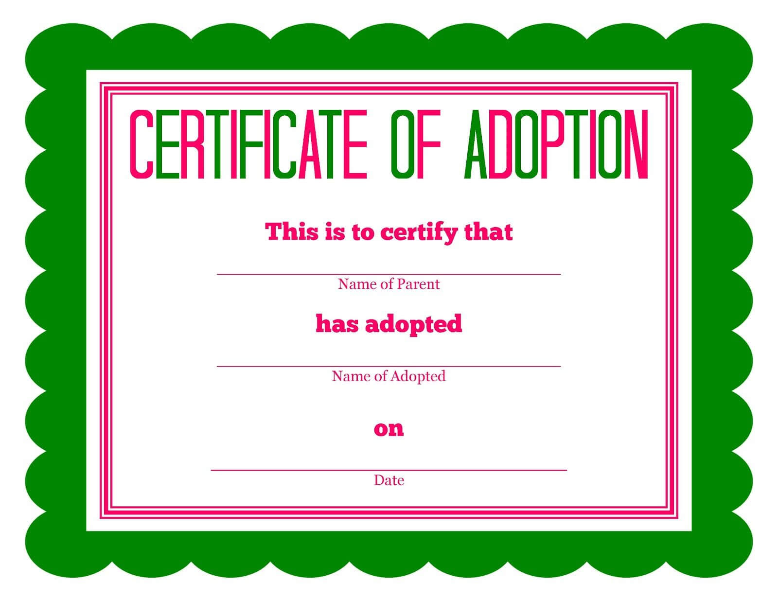 Free Printable Stuffed Animal Adoption Certificate In 2020 For Toy Adoption Certificate Template