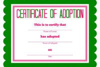 Free Printable Stuffed Animal Adoption Certificate In 2020 regarding Blank Adoption Certificate Template