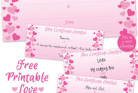 Free Printable Sweet Hearts Love Certificate For Valentine's for Love Certificate Templates