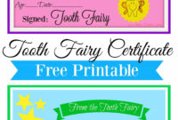 Free Printable Tooth Fairy Certificate | Tooth Fairy intended for Tooth Fairy Certificate Template Free