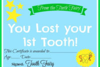 Free Printable Tooth Fairy Certificate | Tooth Fairy within Free Tooth Fairy Certificate Template