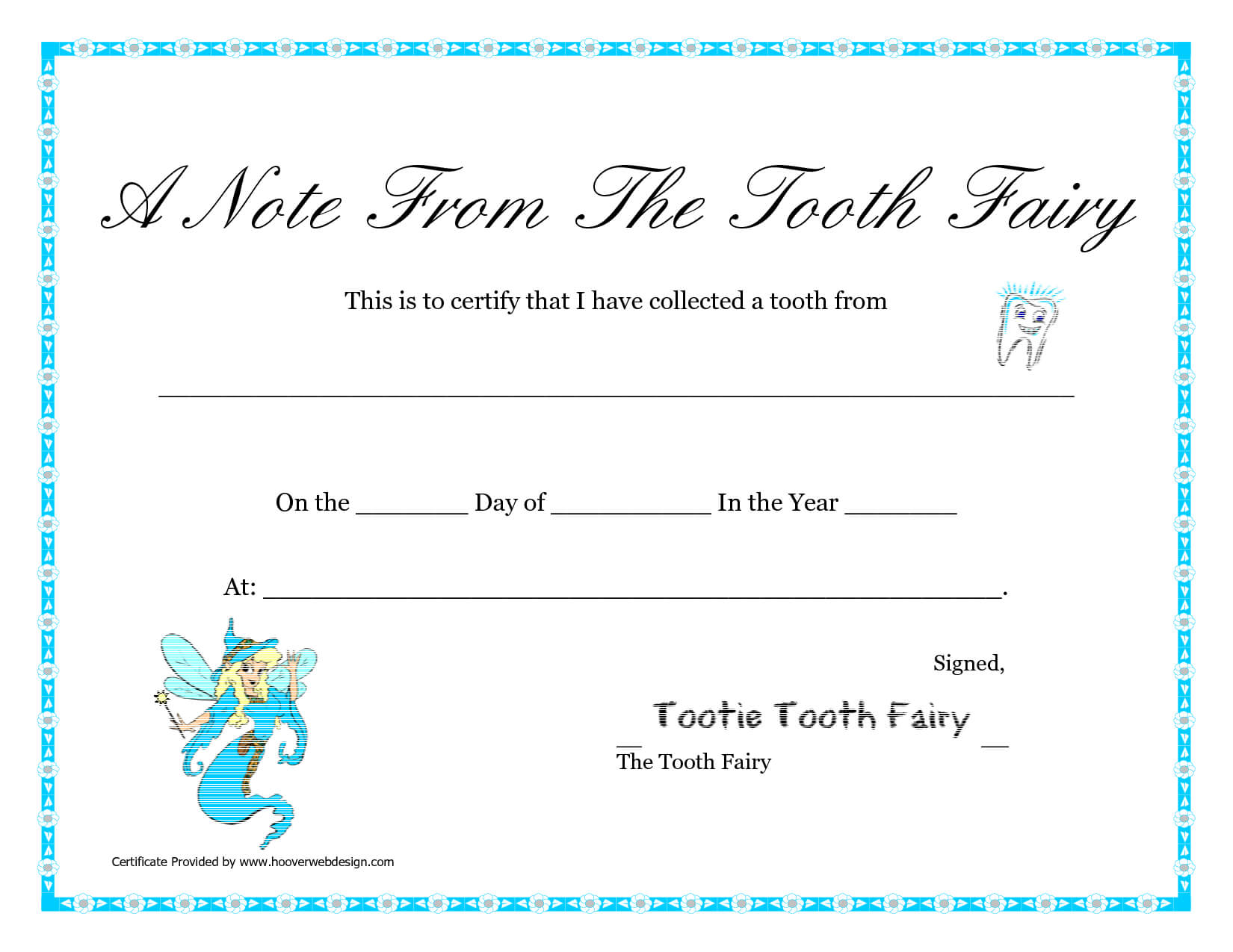 Free Printable Tooth Fairy Letter | Tooth Fairy Certificate With Regard To Tooth Fairy Certificate Template Free