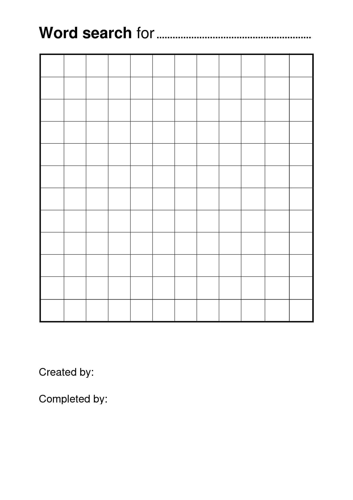 Free Printable Word Search Puzzle Templates | Templates For Blank Word Search Template Free