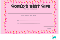 Free Printable World's Best Wife Certificates in Love Certificate Templates