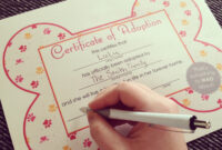 Free Printables} Dog Adoption Certificates | Big Dot Of within Toy Adoption Certificate Template