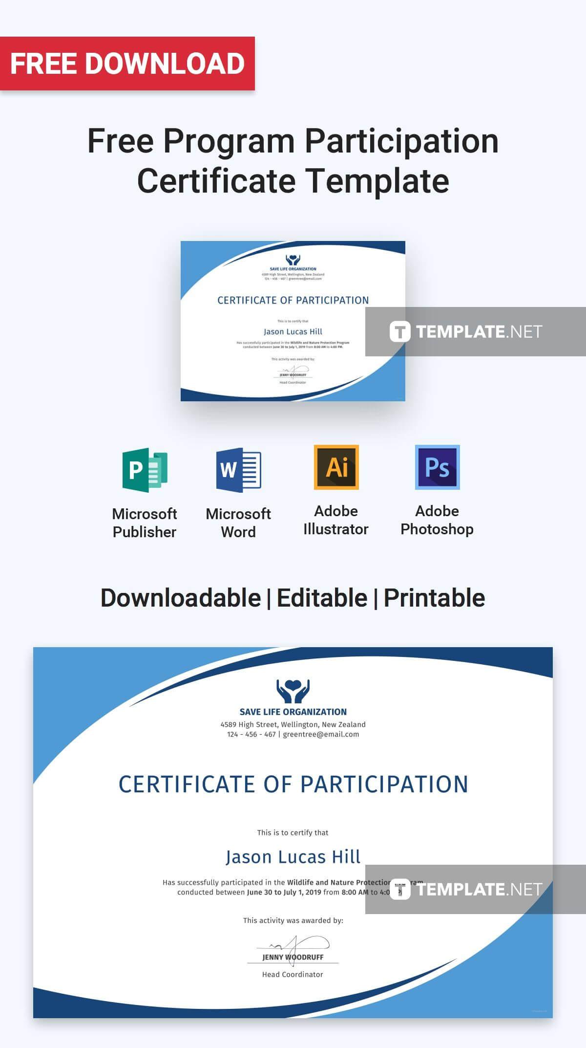 Free Program Participation Certificate   Certificate Of Within Conference Participation Certificate Template