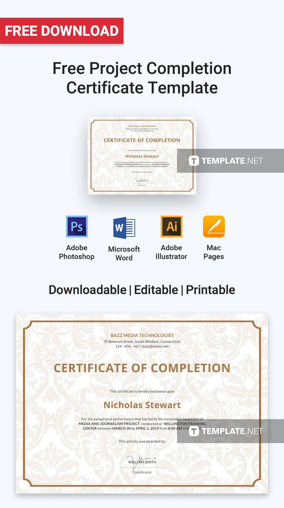 Free Project Completion Certificate | Certificate Templates Inside Certificate Template For Project Completion
