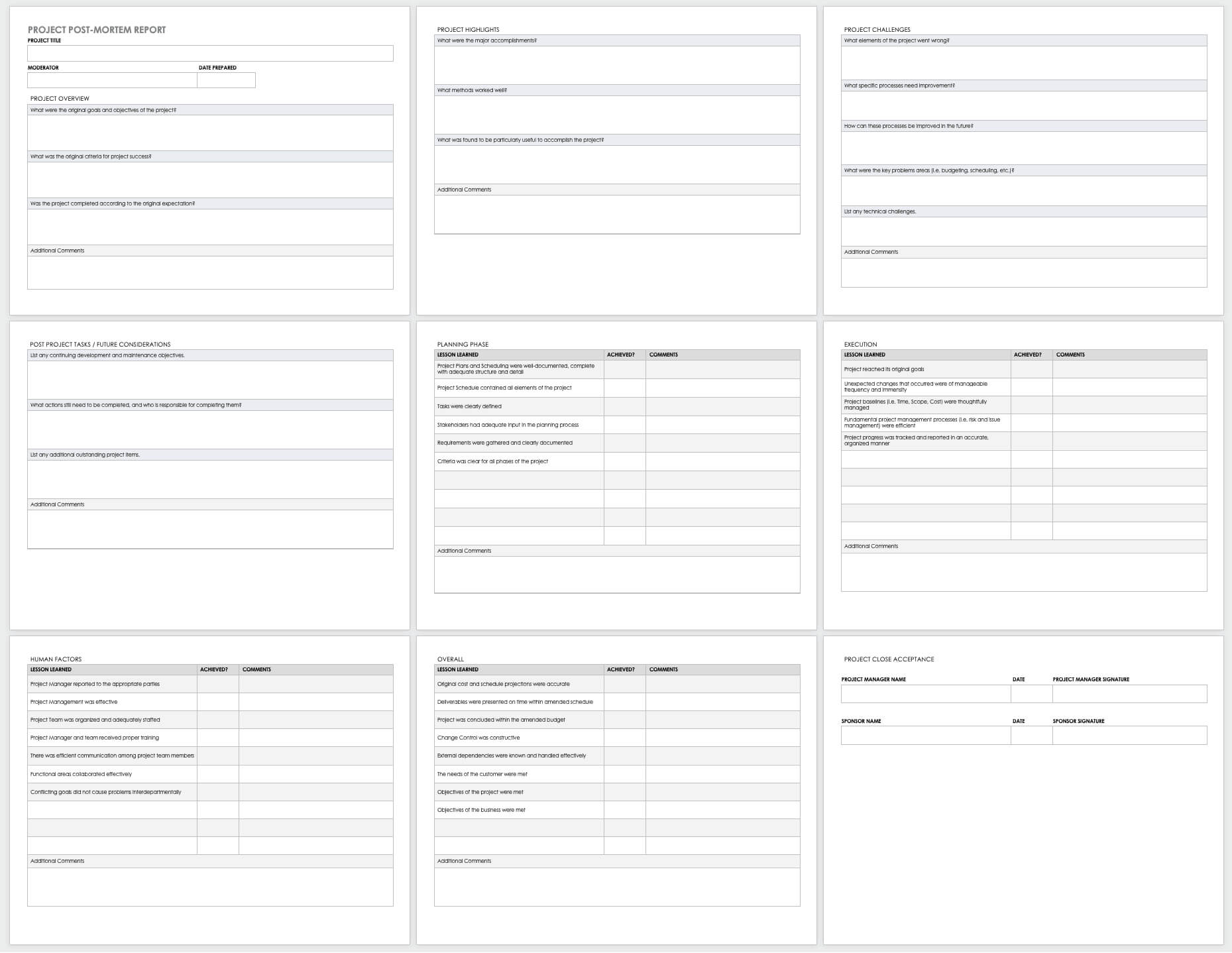 Free Project Report Templates   Smartsheet Throughout Post Mortem Template Powerpoint
