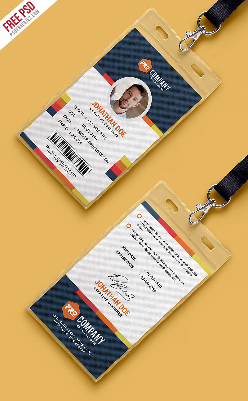 Free Psd : Creative Office Identity Card Template Psd On Behance Pertaining To Id Card Design Template Psd Free Download