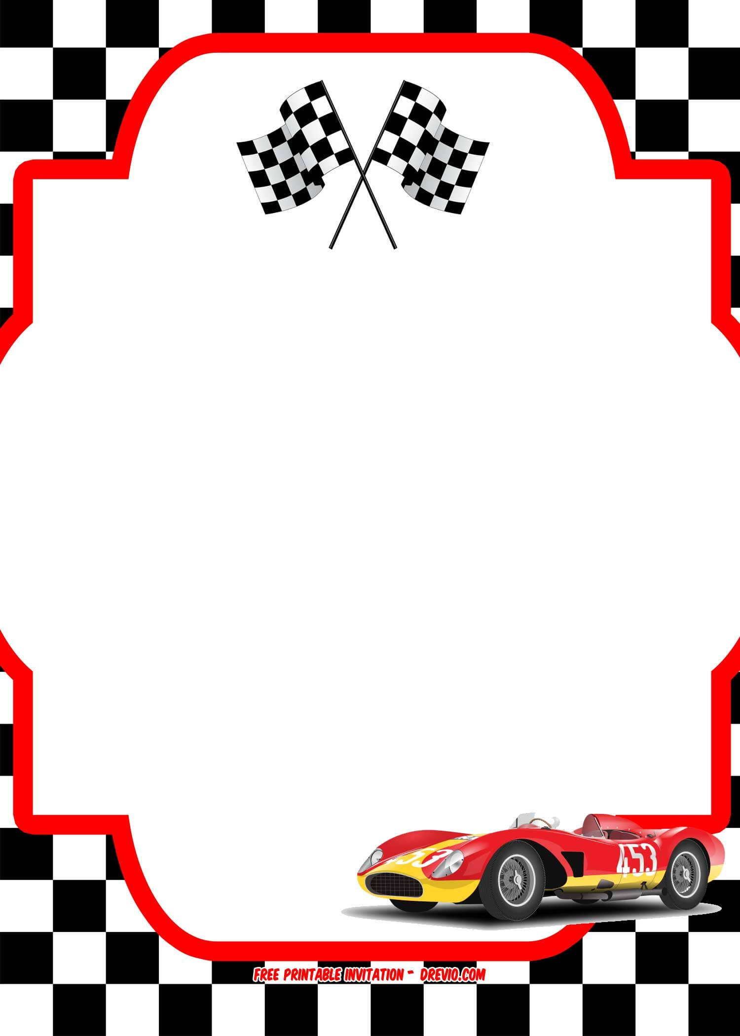 Free Race Car Birthday Invitation Template - Printable Throughout Blank Race Car Templates