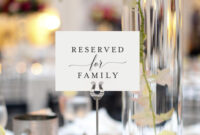 Free Reserved For Family Printable Card From | Reserved Within Reserved Cards For Tables Templates