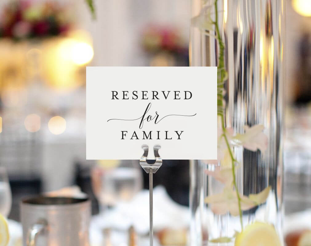 Free Reserved For Family Printable Card From   Reserved Within Reserved Cards For Tables Templates