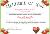 Free Romance And Valentine's Day Certificates At for Love Certificate Templates