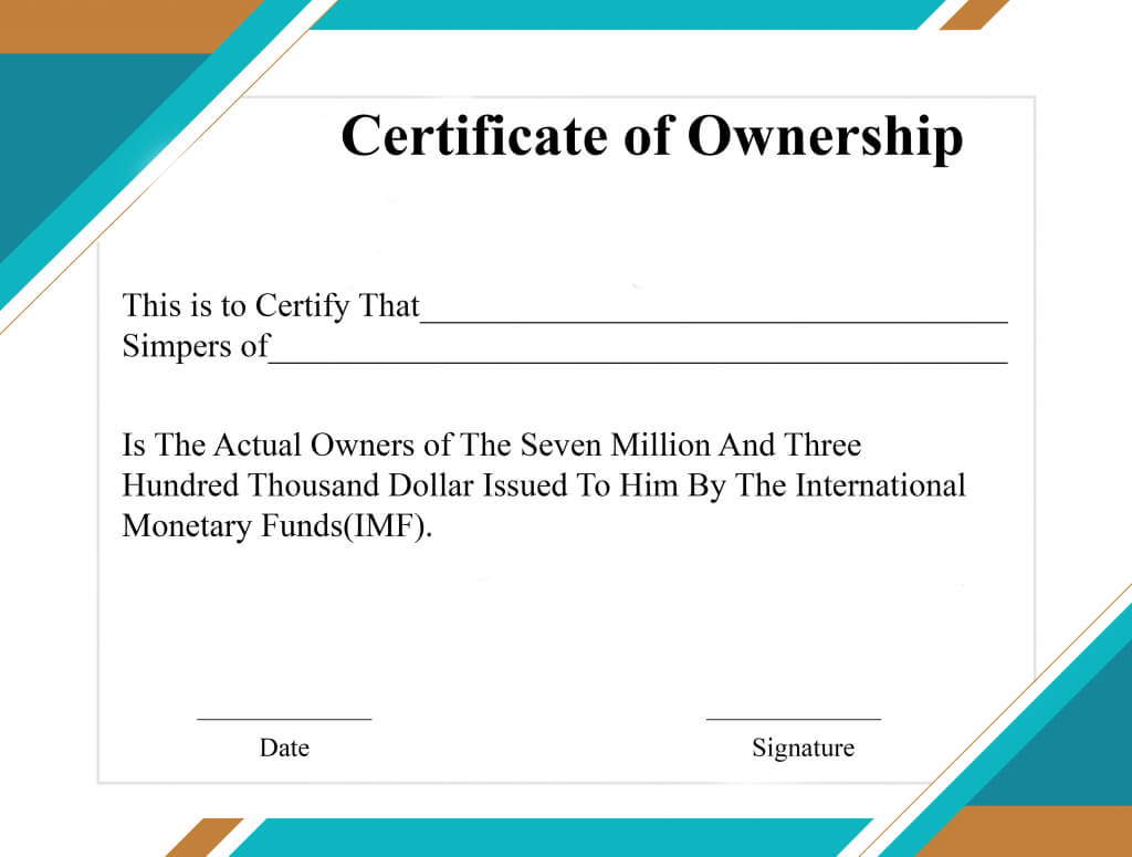 Free Sample Certificate Of Ownership Templates | Certificate Regarding Ownership Certificate Template