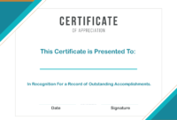 Free Sample Format Of Certificate Of Appreciation Template regarding Template For Recognition Certificate