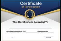 Free Sample Format Of Certificate Of Participation Template in Certificate Of Participation Template Doc