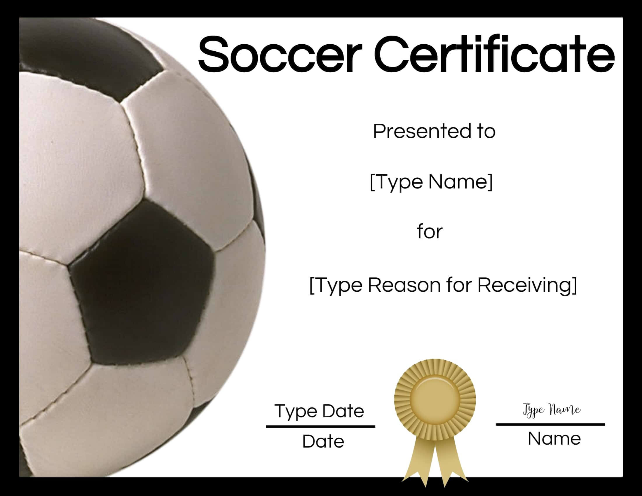 Free Soccer Certificate Maker | Edit Online And Print At Home Within Soccer Certificate Template Free