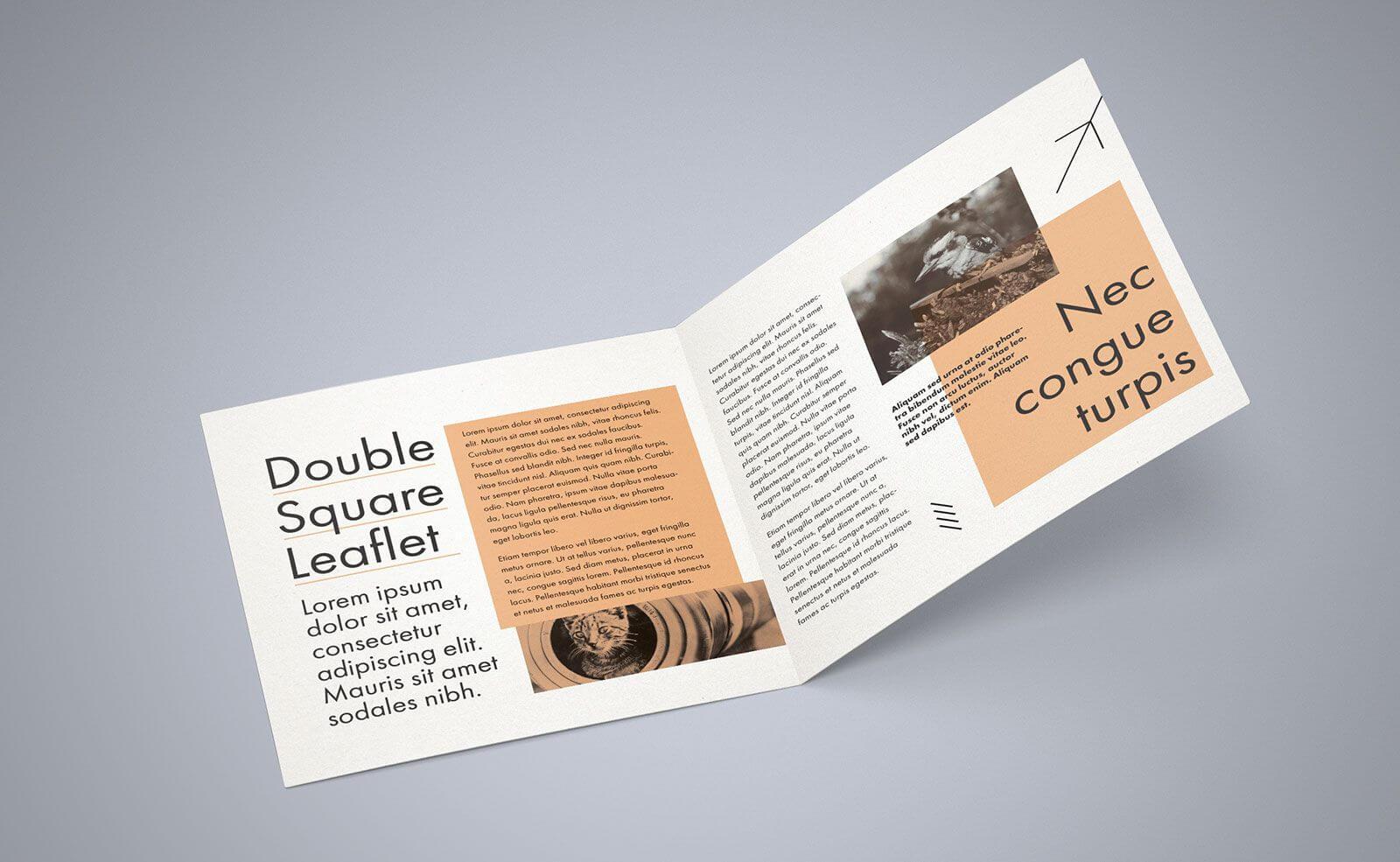 Free Square Bi Fold Brochure Mockup Psd File 2 | Bi Fold With Regard To 2 Fold Brochure Template Psd