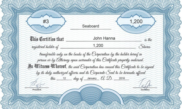 Free Stock Certificate Online Generator for Corporate Share Certificate Template