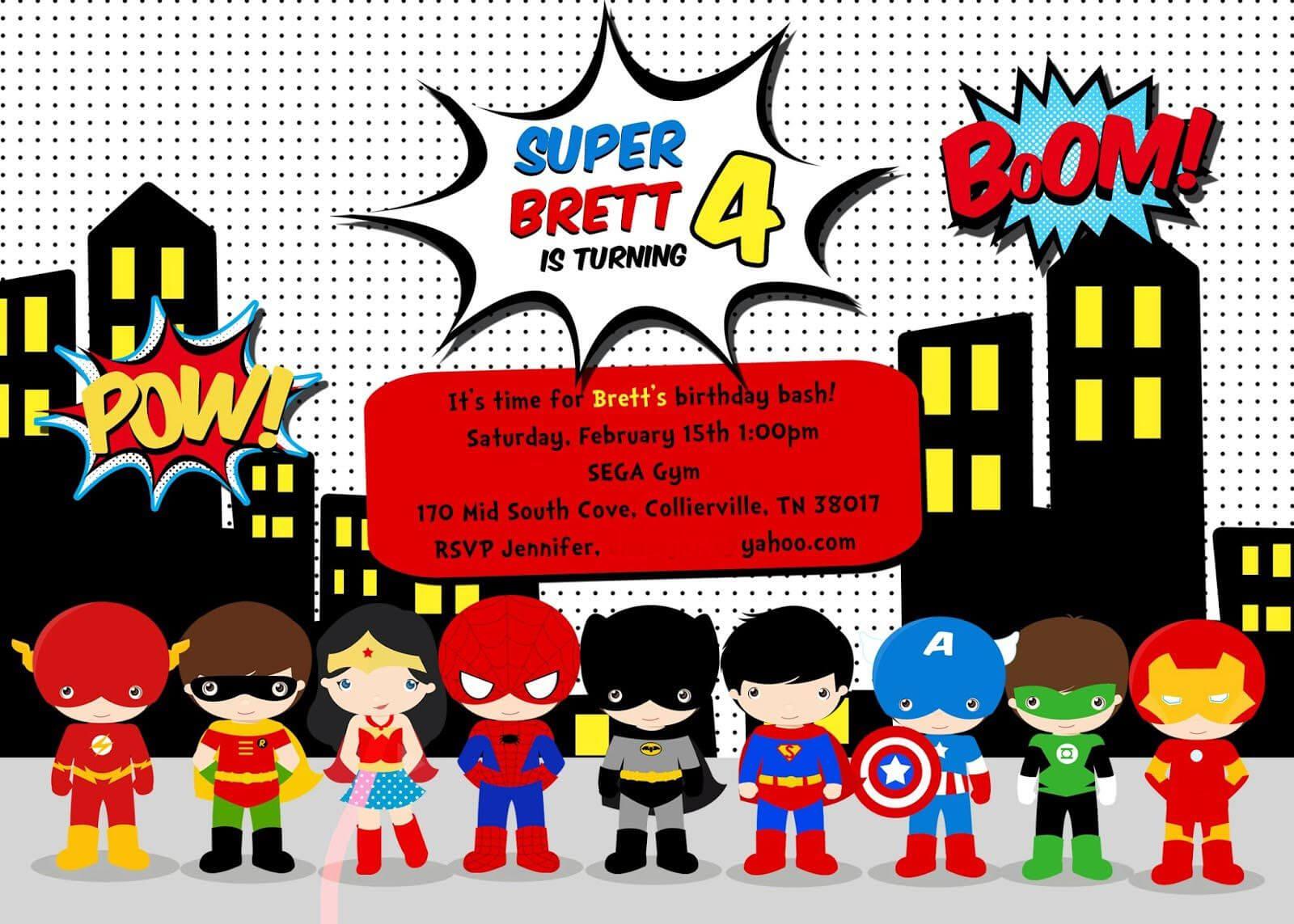 Free Superhero Birthday Party Invitation Templates With Regard To Superhero Birthday Card Template