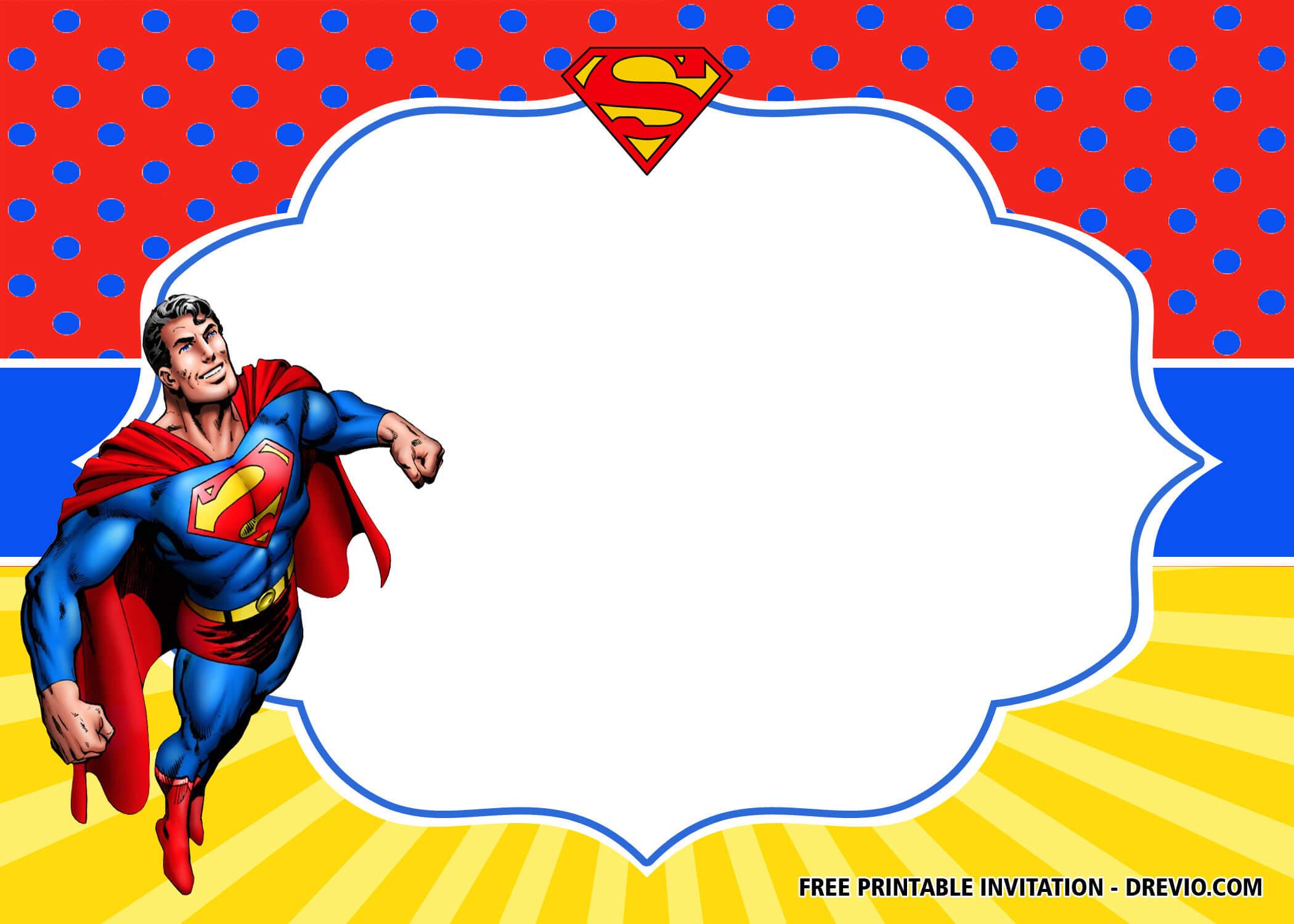 Free Superhero Superman Birthday Invitation Templates – Bagvania In Superhero Birthday Card Template