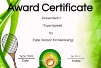 Free Tennis Certificates | Edit Online And Print At Home for Tennis Certificate Template Free