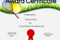 Free Tennis Certificates | Edit Online And Print At Home regarding Tennis Certificate Template Free