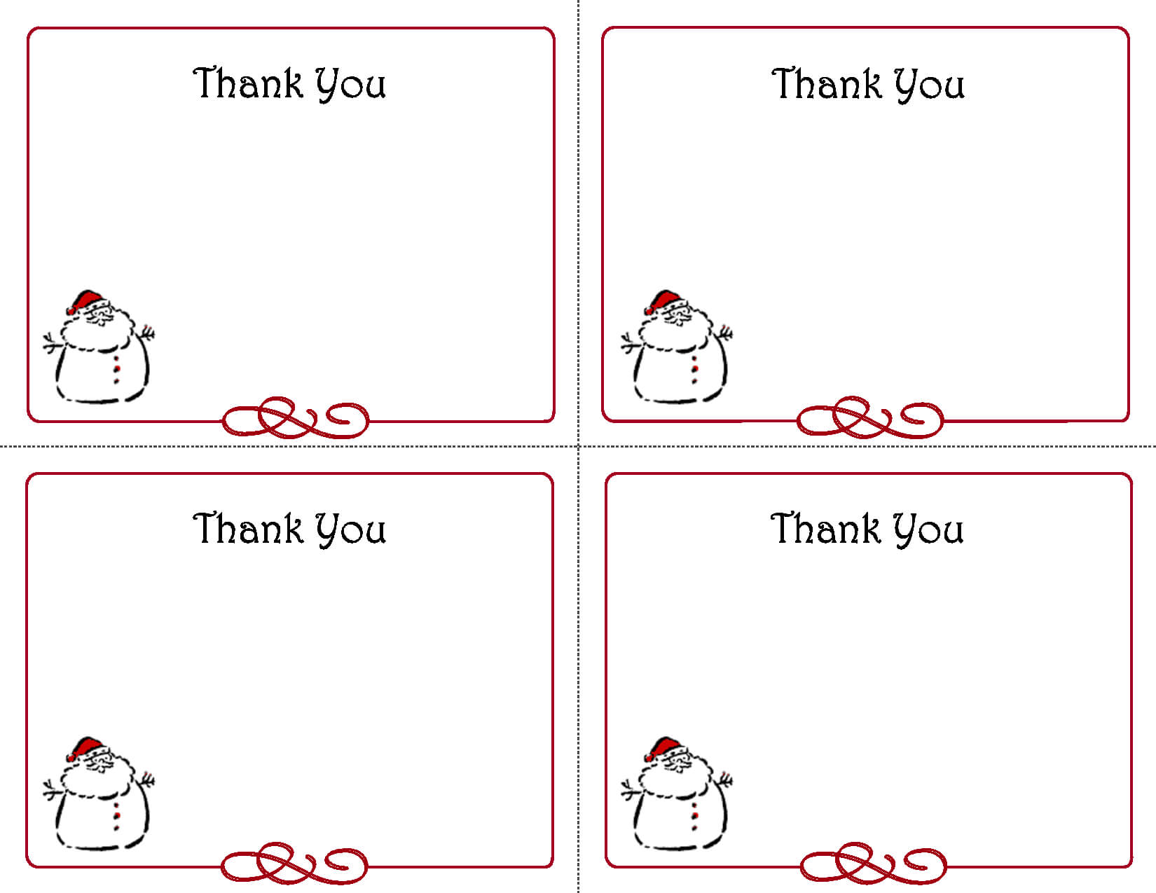 Free Thank You Cards Printable | Free Printable Holiday Gift Throughout Christmas Note Card Templates