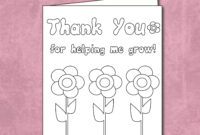 Free Thank You For Helping Me Grow – Coloring Card Printable with Thank You Card For Teacher Template