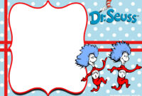 Free Thing 1 And Thing 2 Dr. Seuss Invitation Templates intended for Dr Seuss Birthday Card Template