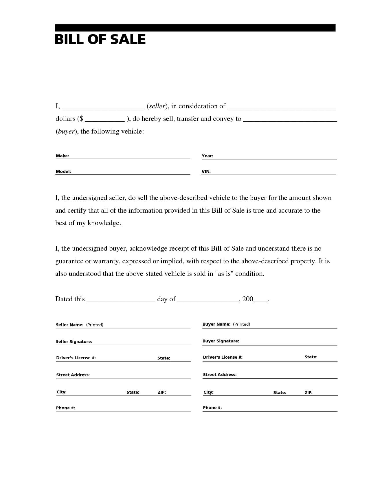 Free Vehicle Bill Of Sale Word Document – Best Of Automotive For Car Bill Of Sale Word Template
