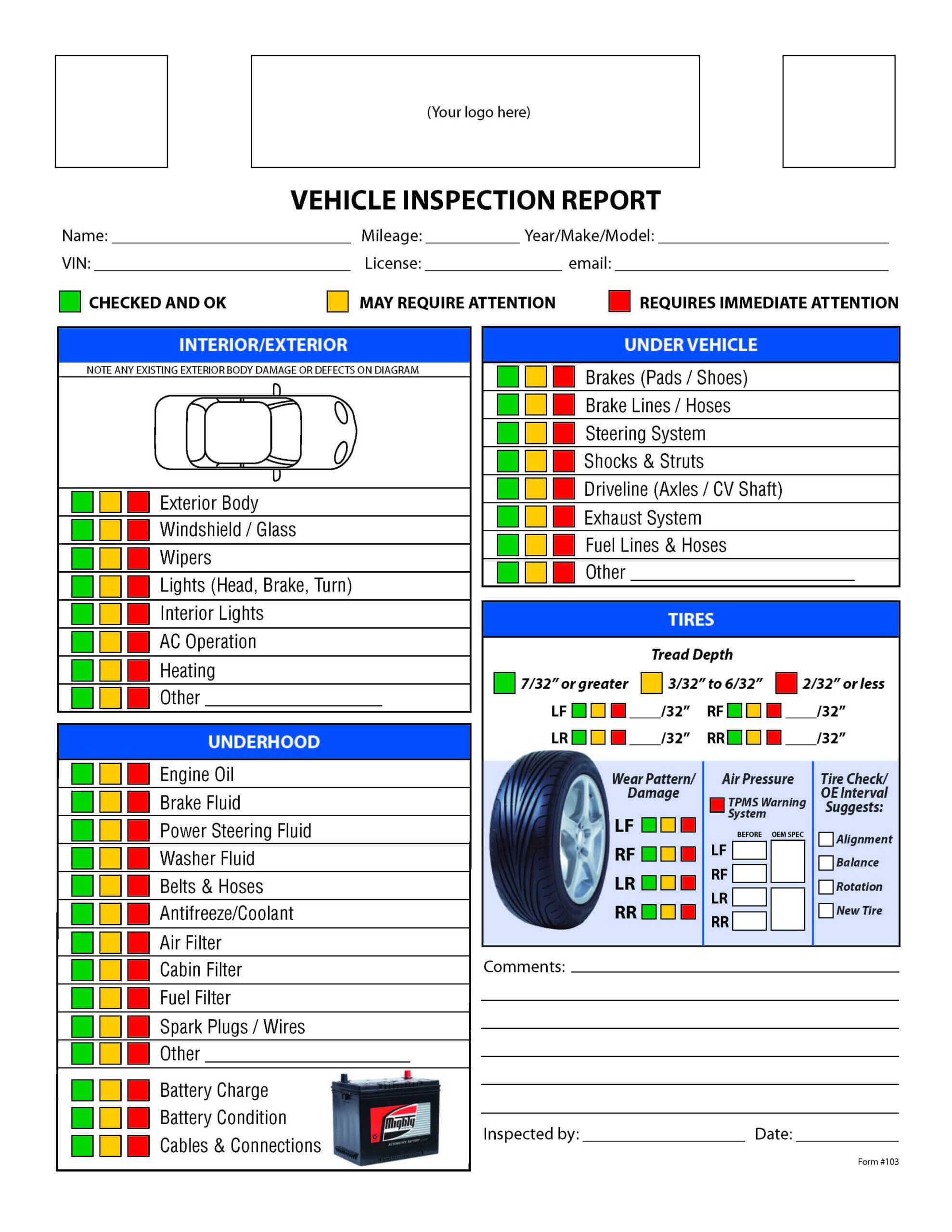 Free Vehicle Inspection Checklist Form | Vehicle Inspection Intended For Vehicle Checklist Template Word