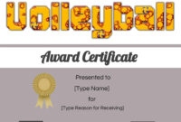Free Volleyball Certificate | Edit Online And Print At Home with Rugby League Certificate Templates