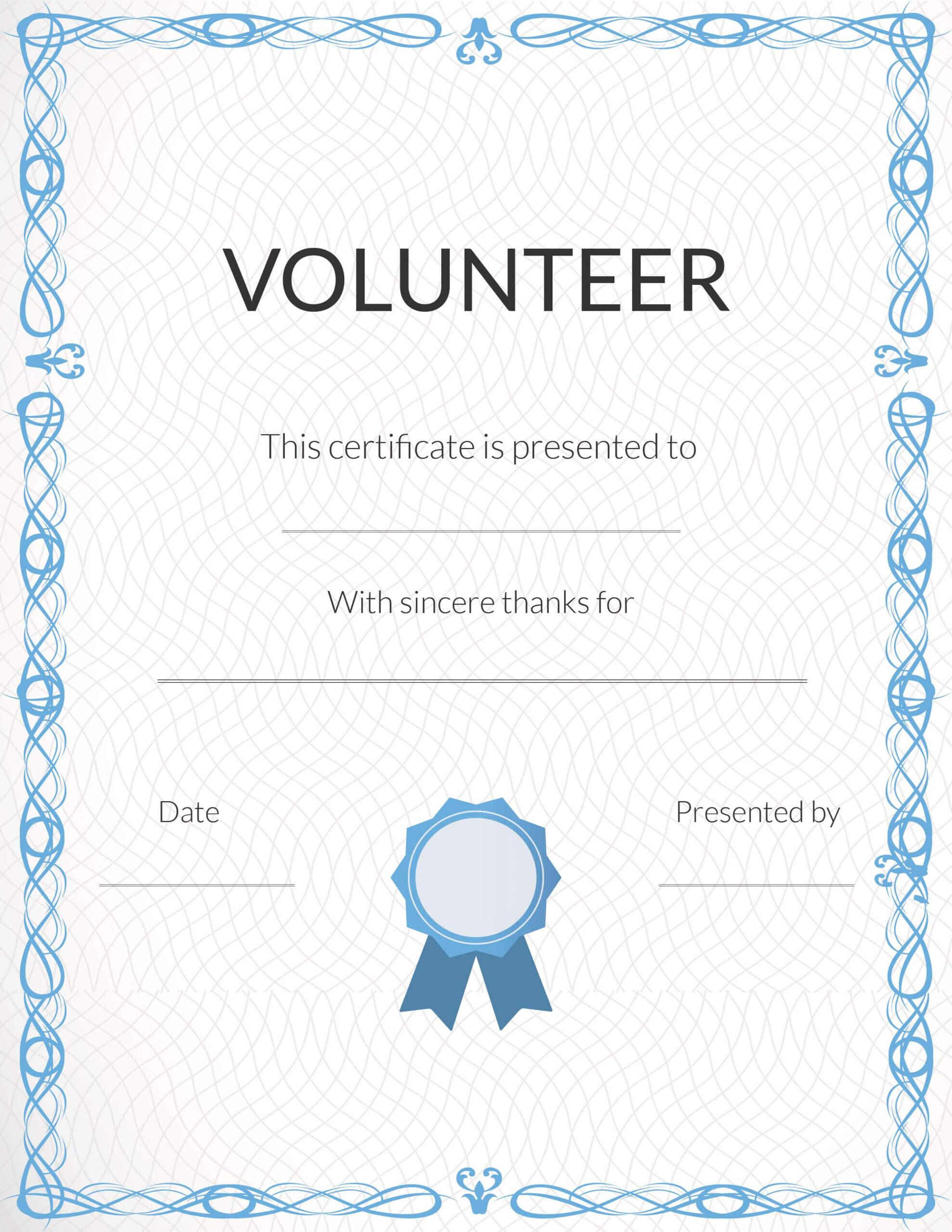 Free Volunteer Appreciation Certificates — Signup In Volunteer Award Certificate Template